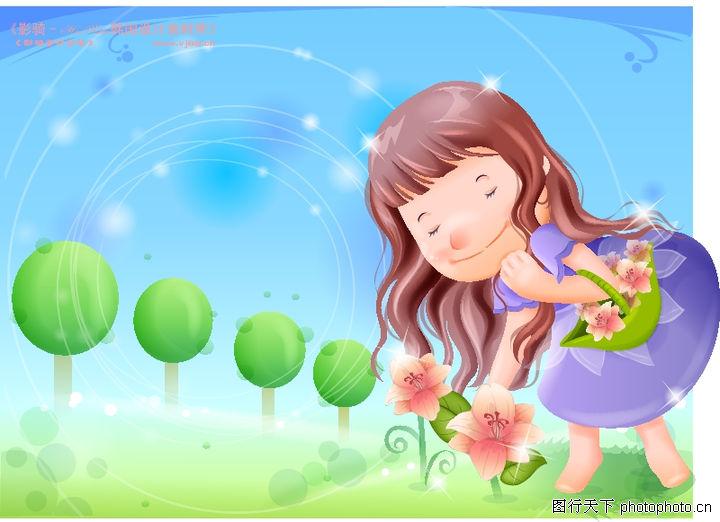 精品儿童与风景 人物 春天到 摘花 可爱女孩