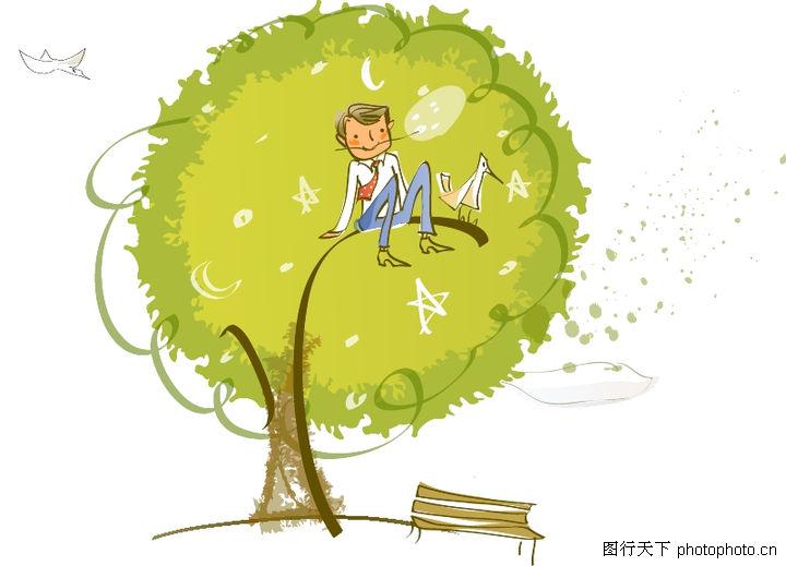 线条风商务故事,人物,大树 圆形树冠 长椅子 坐在树顶,线条风商务故事