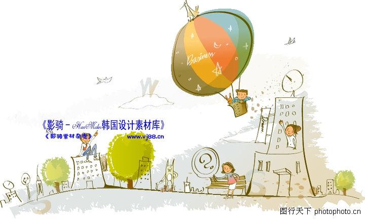 线条风商务故事,人物,热气球 故事画 帆船,线条风商务故事0051图片
