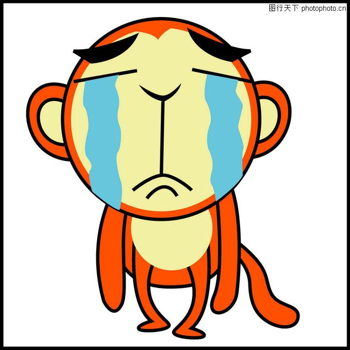 表现情感q版,人物,流泪 小猴子 哭泣,表现情感q版0006