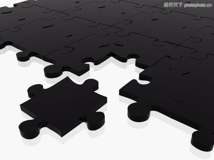 创意概念,黑色拼图块