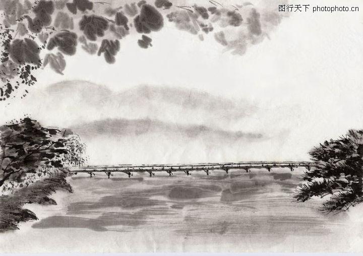 水墨风景,中国传统人文,矮桥 横跨 两岸,水墨风景0018