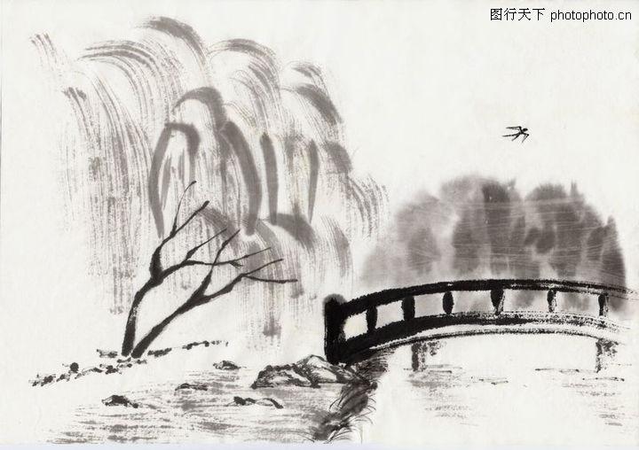 水墨风景 中国传统人文 木桥 柳树 公园