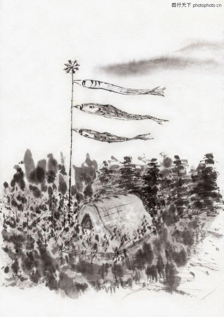 水墨风景,中国传统人文,坟墓 清明 扫墓,水墨风景0071