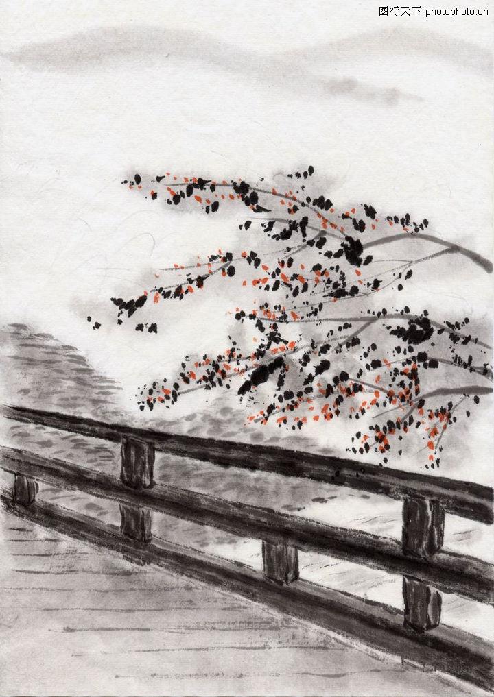 水墨风景,中国传统人文,木桥 栏杆 梅花,水墨风景0096