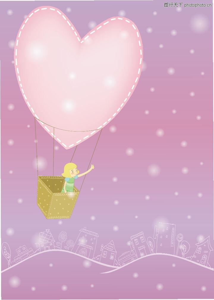 儿童,日韩盛典,心形 飞翔 热气球 ,儿童0025