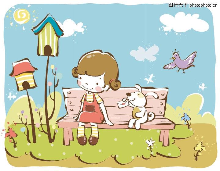 儿童 日韩盛典 长椅 小兔 飞鸟
