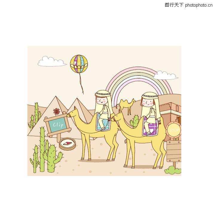 儿童 日韩盛典 动物园 骆驼 沙漠; 旅行主题梦幻儿童画矢量素材