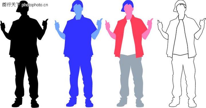 人物剪影,综合,姿势 青年人 青少年,人物剪影0036