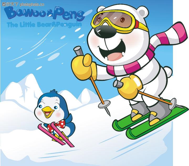 可爱小白熊,动物,去滑雪