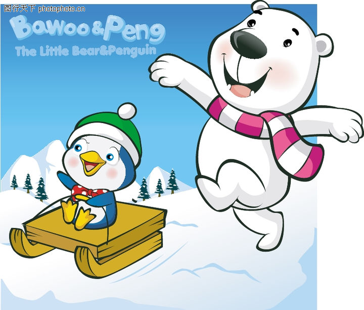 可爱小白熊,动物,活泼小熊