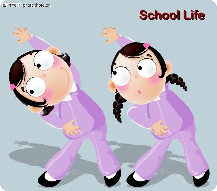 学生课堂,少年儿童,做体操 体育课,学生课堂0016