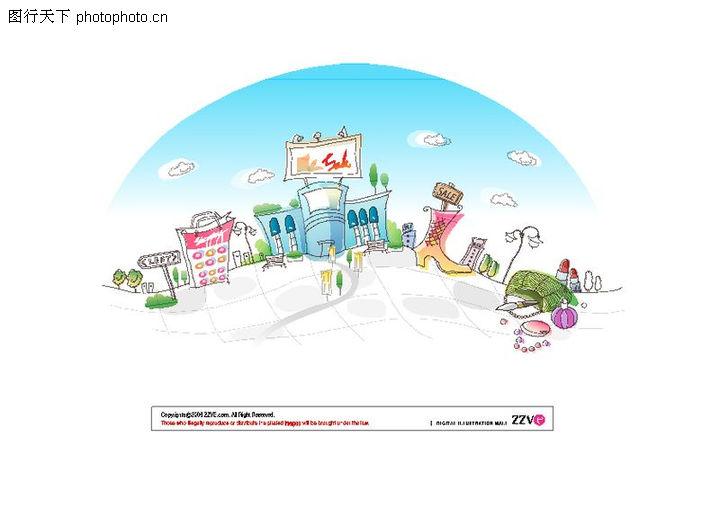 城市风景 卡通城市漫画手绘 hanmaker韩国设计素材库;; 城市风景 卡通
