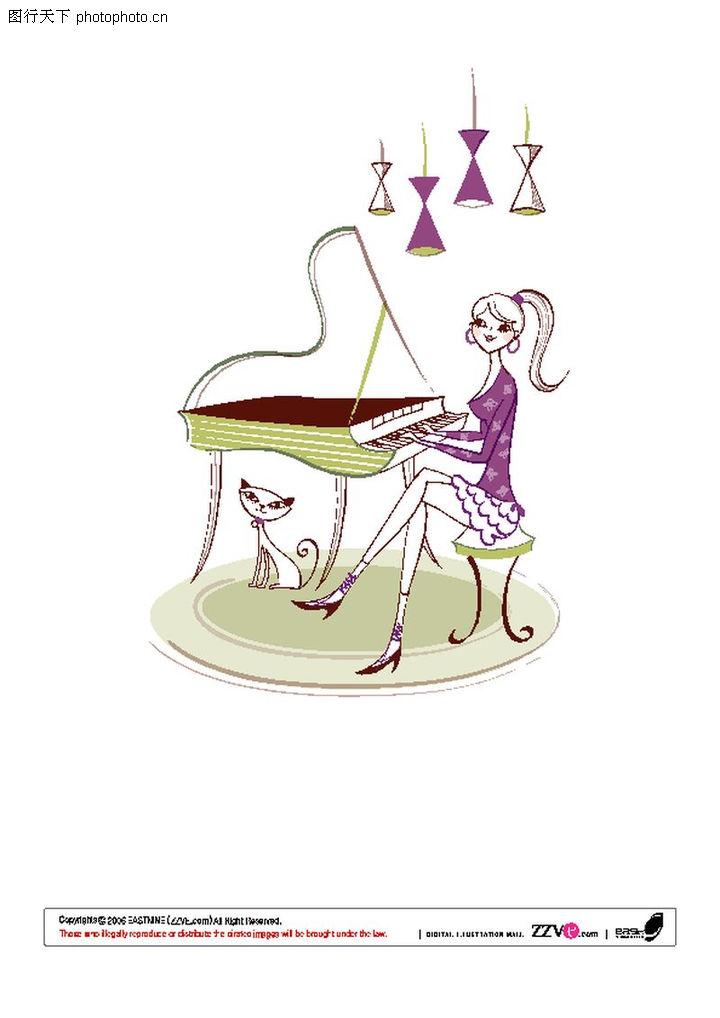 情侣头像弹钢琴