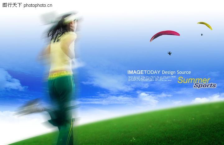 人物风景,韩国设计元素,运动 女性 草坪,人物风景0120