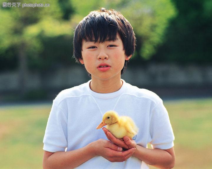 儿童宠物,儿童,黄色鸭子
