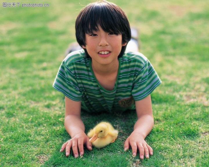 儿童宠物,儿童,鸭子宠物