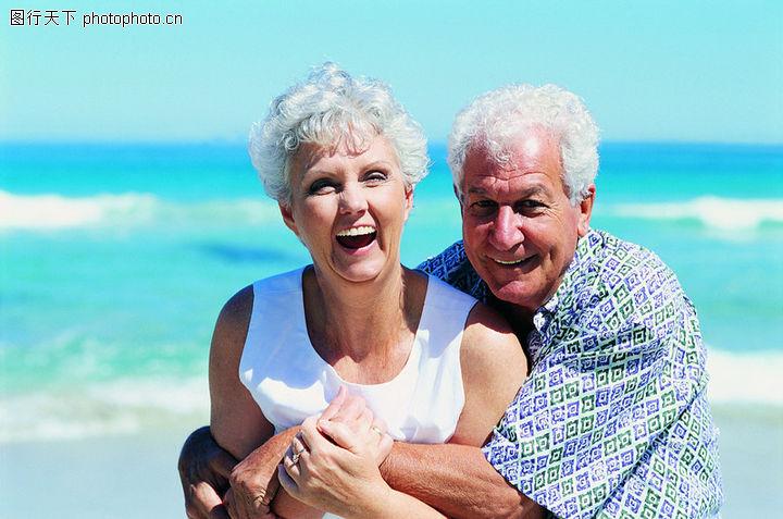 休闲度假,白发老人图片