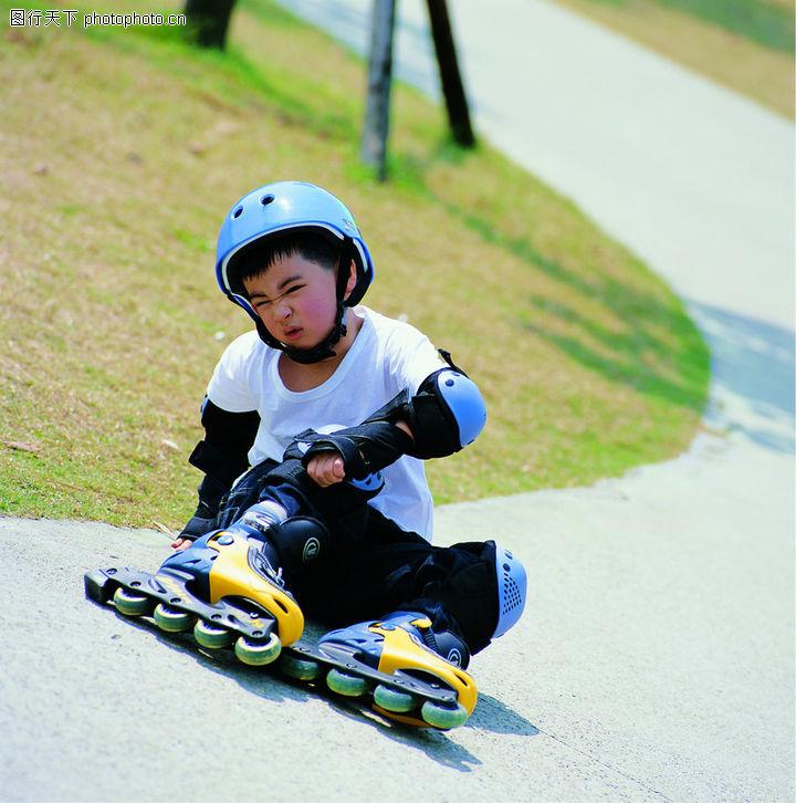 儿童表情,表情,摔倒 轮滑男孩