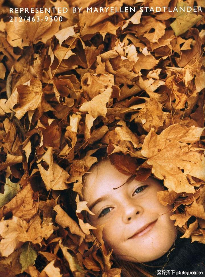 儿童图片,人物,枫叶 落叶 头部,儿童图片0102