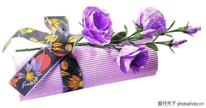礼品包装,静物,紫色的花