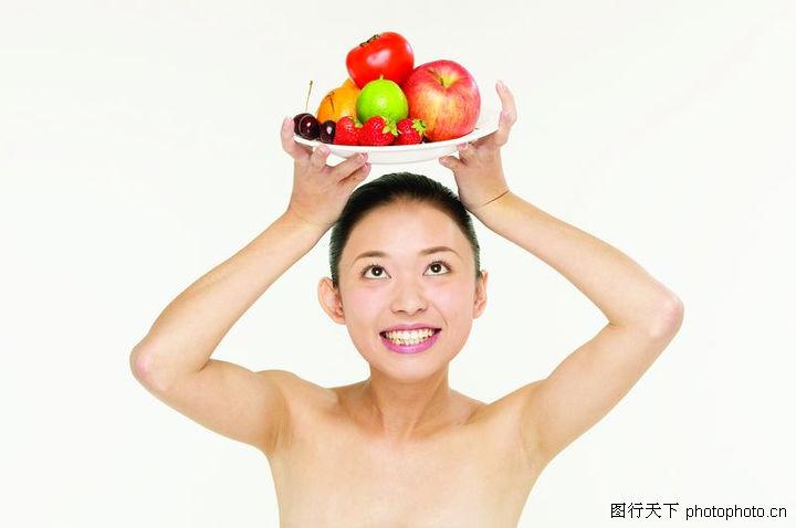 水果美容,健身养生,举在头顶 苹果 蕃茄,水果美容0032