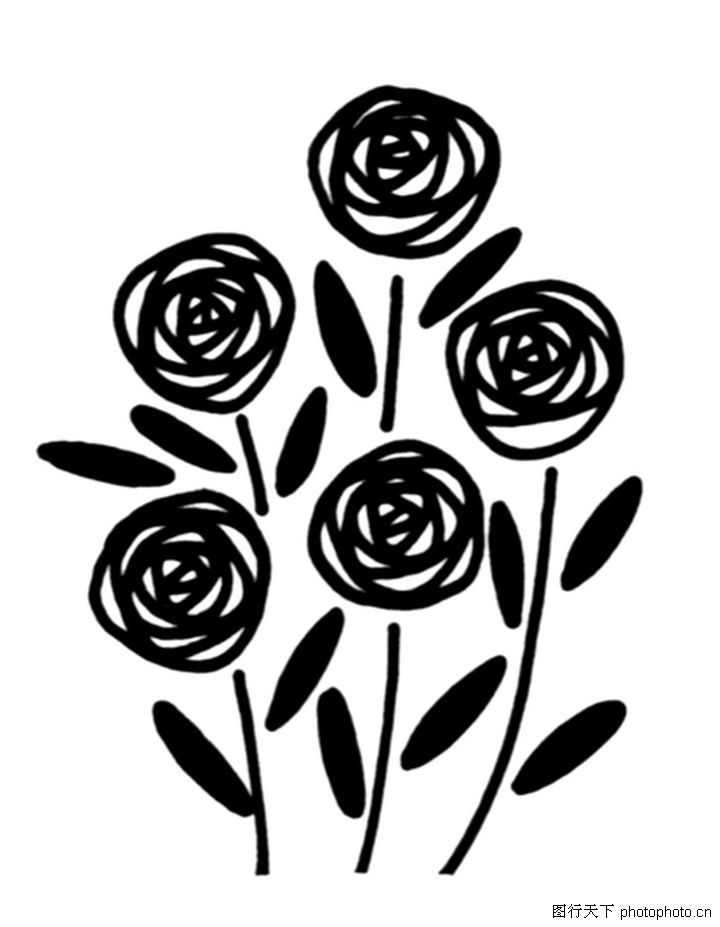 几何玫瑰花简笔画