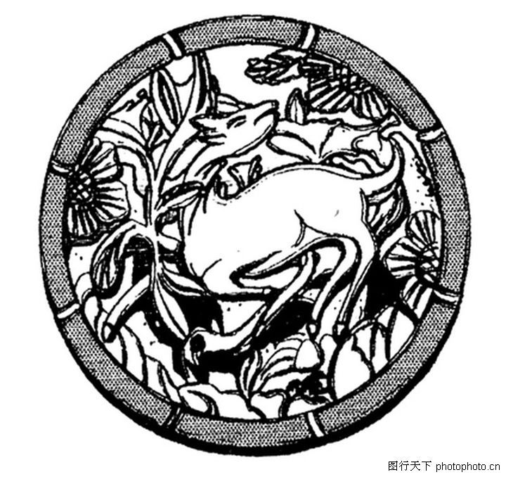 走兽 综合 弱小动物 圆形图案