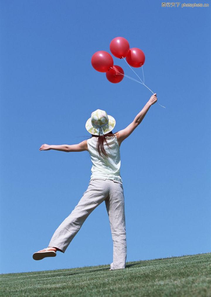 活力女性,运动,手拿气球,活力女性0010