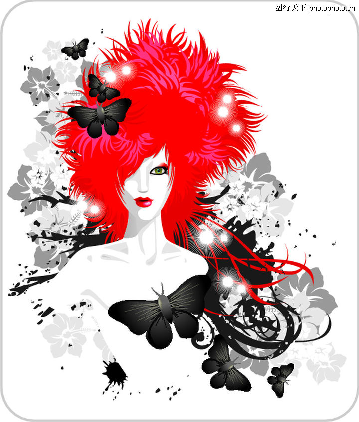 人物,欧美花纹元素,红头发,人物0009图片