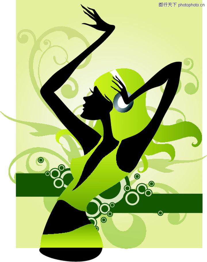 人物,欧美花纹元素,活力绿色调 听歌 黑色身体,人物0037