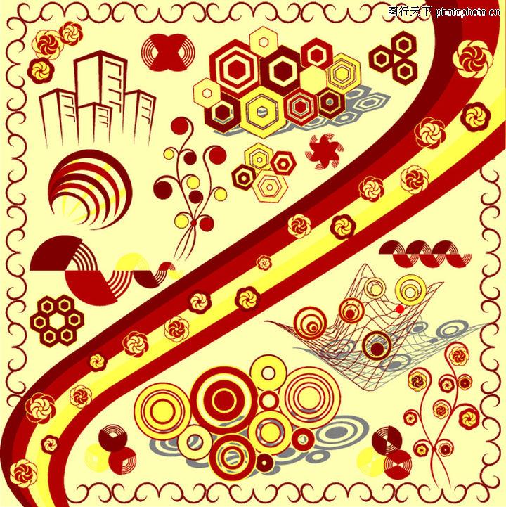 元素,欧美花纹元素,彩色元素背景,元素0025