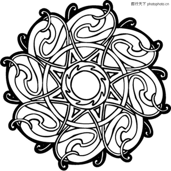 凯尔特装饰品 欧美花纹元素 黑白图