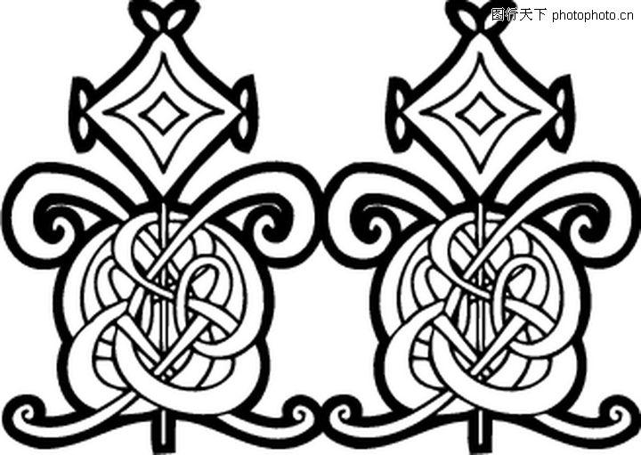 凯尔特装饰品 欧美花纹元素 白色背景色