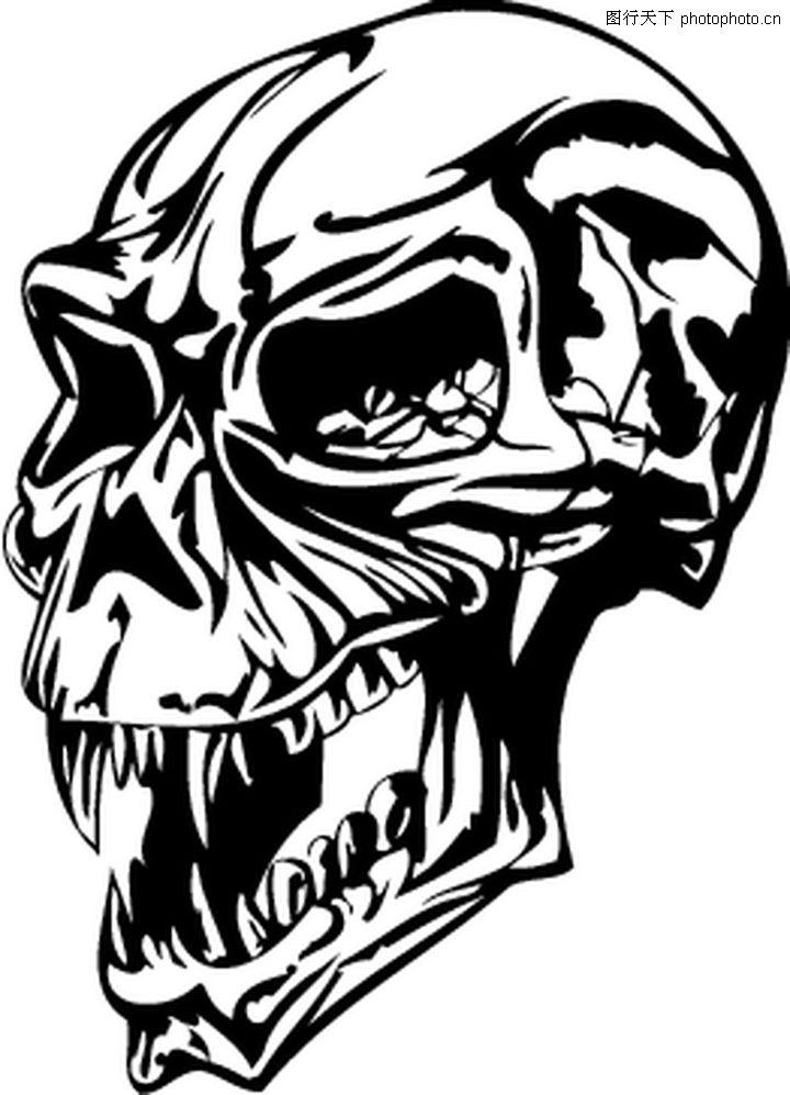 矢量图; 怪物骷髅 欧美花纹元素;;