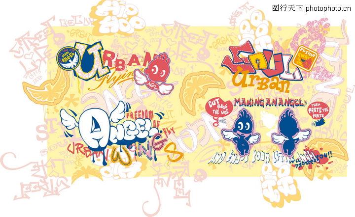 儿童时装纹饰,花纹图案,漫画,儿童时装纹饰0076