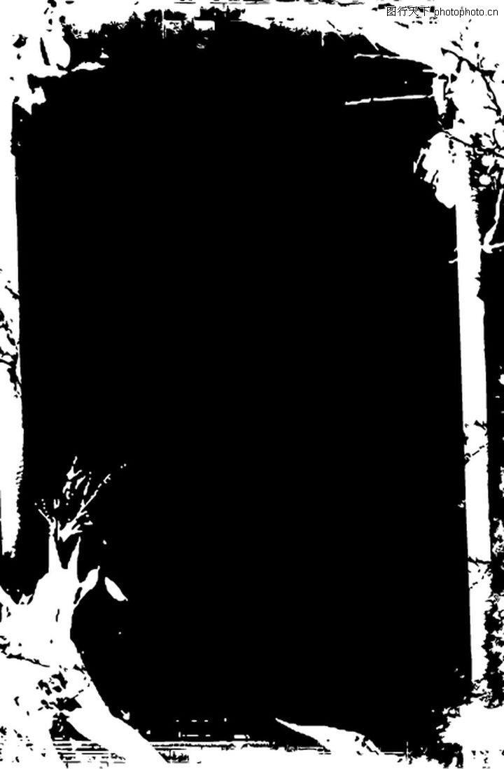 墨印背景 花纹图案; 黑白残缺花纹边框矢量图第四辑19;;; [ai] 墨迹