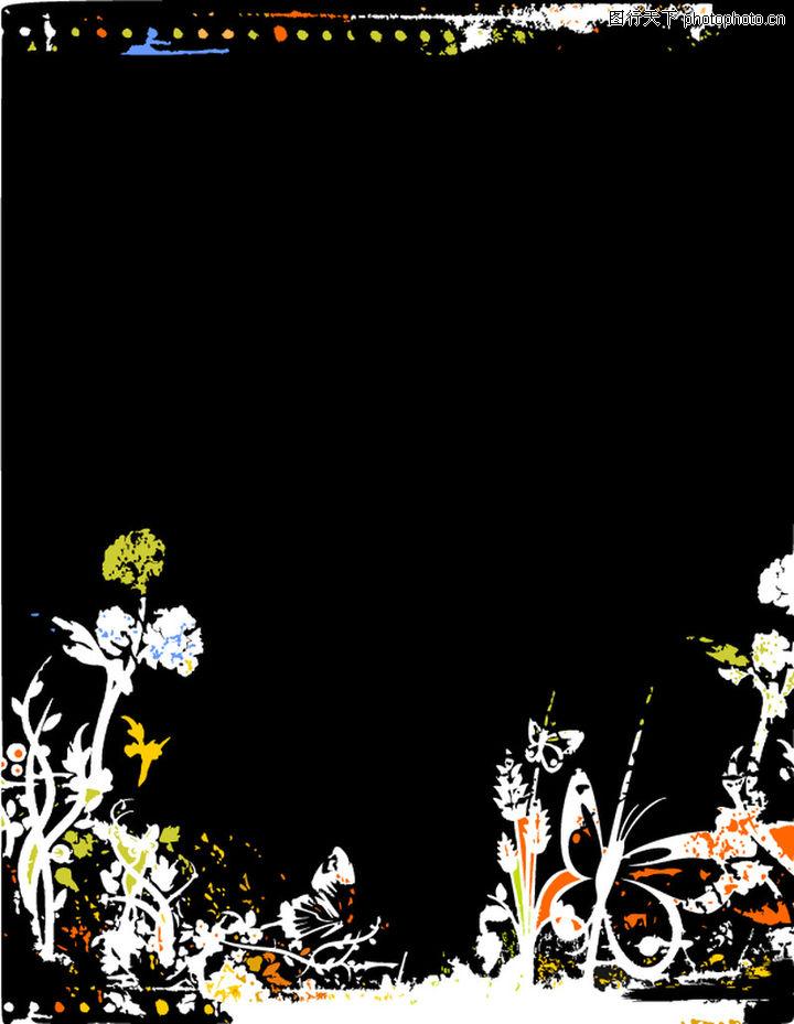 墨印花纹边框 花纹图案 黑色背景 花草