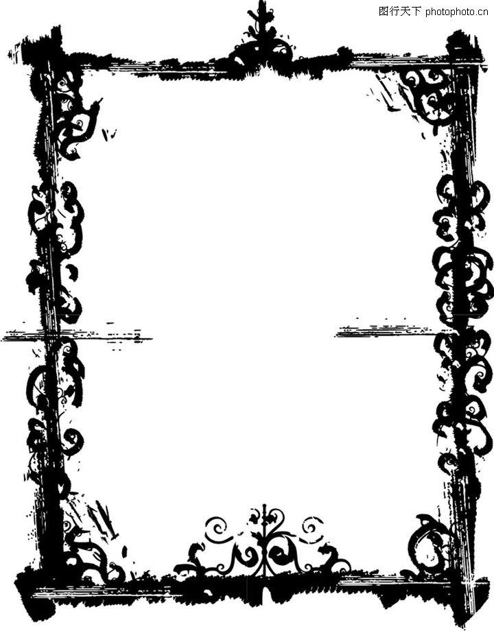 墨印花纹边框 花纹图案 边框模板