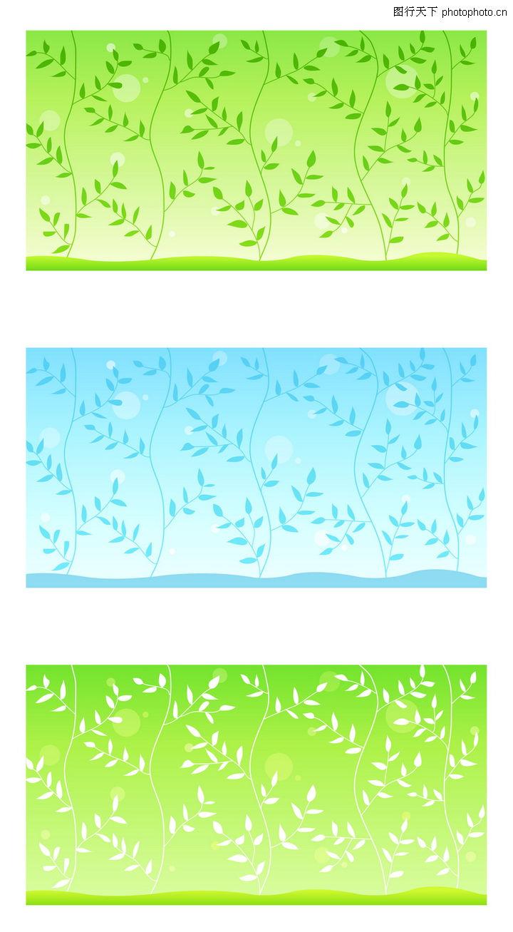 线条花纹 花纹图案 绿叶 枝叶背景
