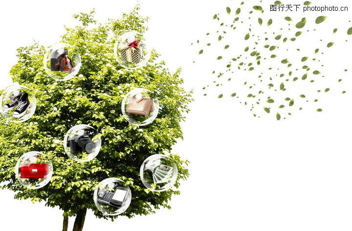 创意设计专辑01 创意设计 树冠 树叶飘散 绿色生态