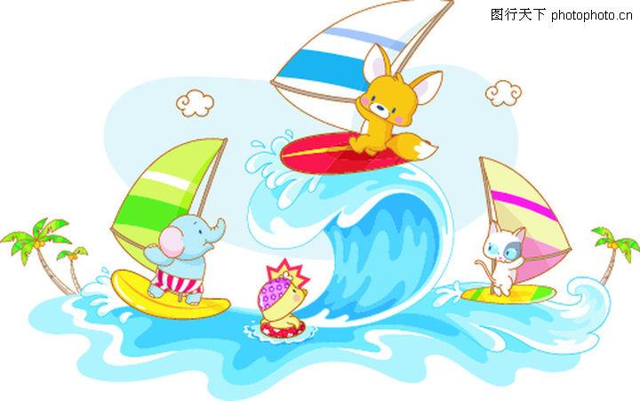 卡通动物,卡通,动物玩耍 帆船,卡通动物0032