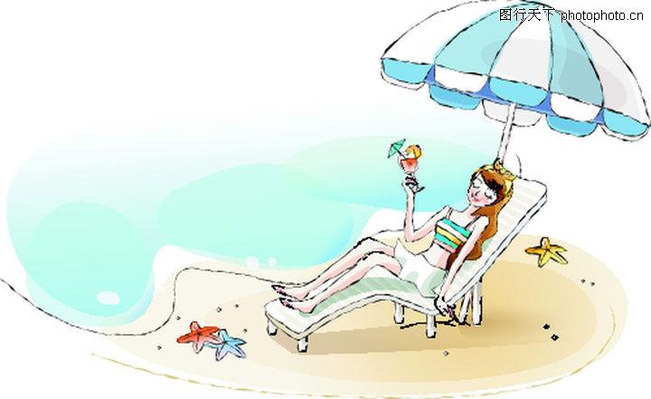 卡通女性,卡通,晒太阳