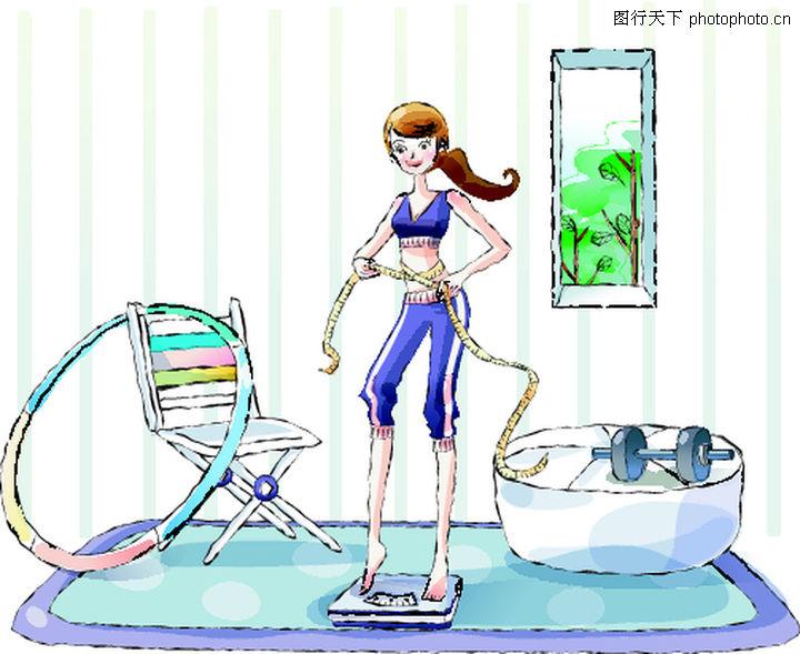疏通下水道图片_卡通女性0028-卡通图-卡通图库-做运动 呼啦圈 称体重