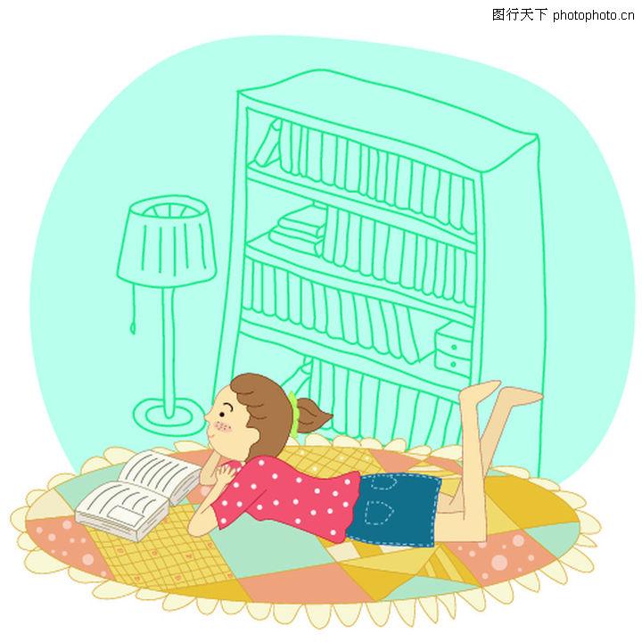 小孩趴着看书简笔画_