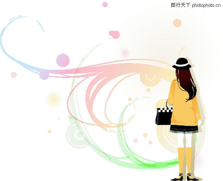 时尚女孩 人物 长发披肩 背影