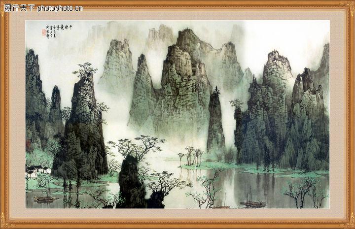山水风景,中堂画,山水风景0104