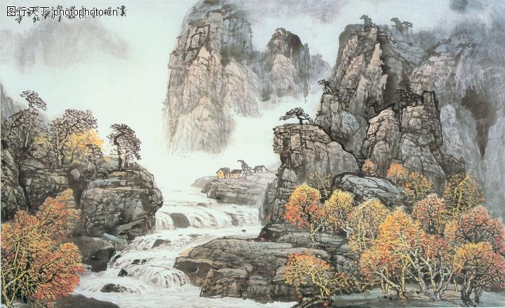 山水风景,中堂画,山水风景0110