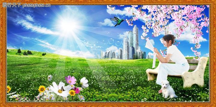 韩国风景,中堂画,韩国风景0032