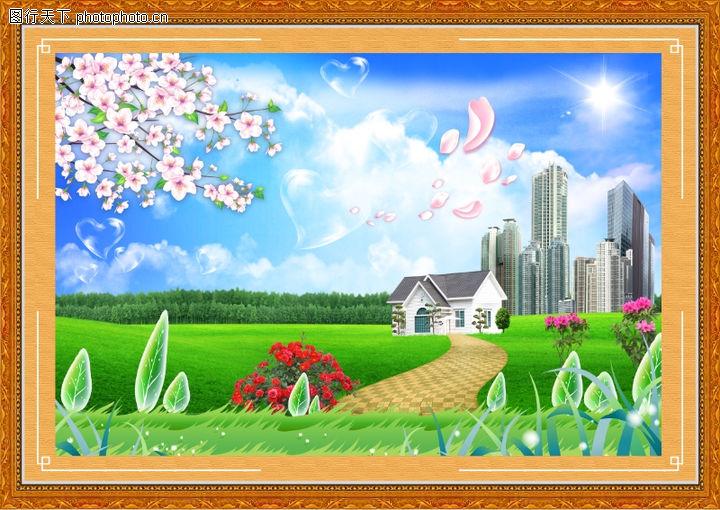 韩国风景,中堂画,韩国风景0041